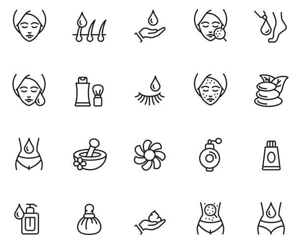 stockillustraties, clipart, cartoons en iconen met huid zorg pictogramserie - menselijke huid