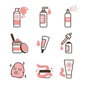 Skin care routine icons set in line style. Vector illustration.
