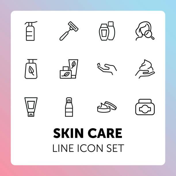 肌ケア ライン アイコン セット - スキンケア点のイラスト素材/クリップアート素材/マンガ素材/アイコン素材