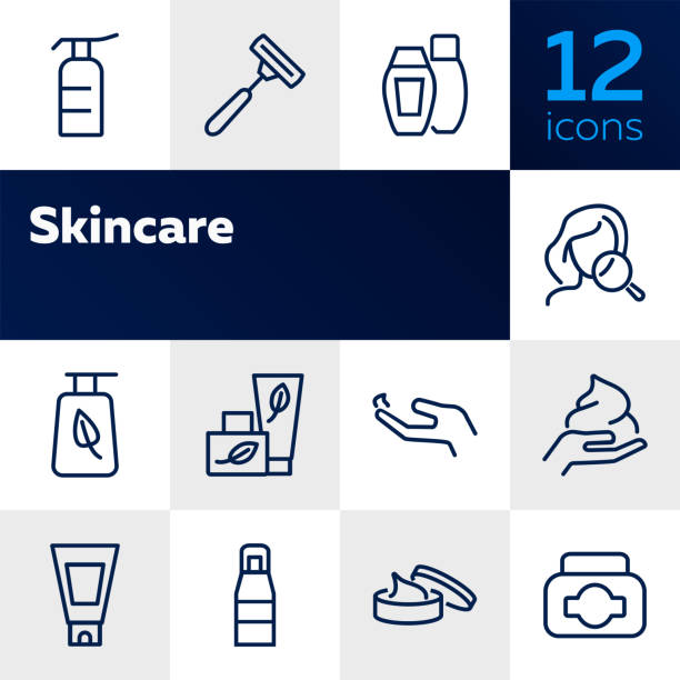 stockillustraties, clipart, cartoons en iconen met skin care lijn icon set - creme huid