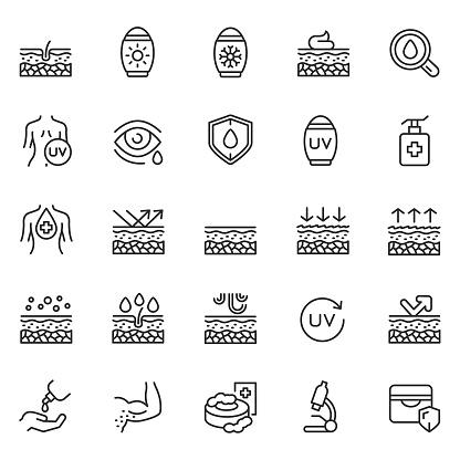 Skin care line icon set