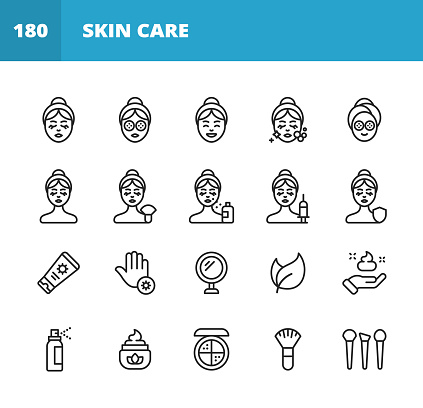 Skin Care Line Icons. Editable Stroke. Pixel Perfect. For Mobile and Web. Contains such icons as Skin Care, Spa, Cosmetics, Wellness, Make Up, Hygiene, Moisturizer, Dermatology, Lifting, Bath, Face Mask, Detox, Peeling, Surgery, Wrinkle, Soap, Perfume.