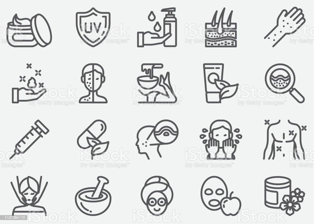 Huidverzorging lijn iconen - Royalty-free Acne vectorkunst