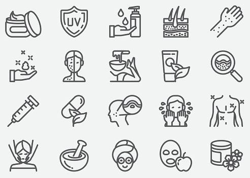 Huidverzorging Lijn Iconen Stockvectorkunst en meer beelden van Acne