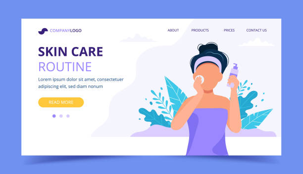 Skin care routine landing page. Woman using a cosmetic product for her skin. Vector illustration in flat style vector art illustration