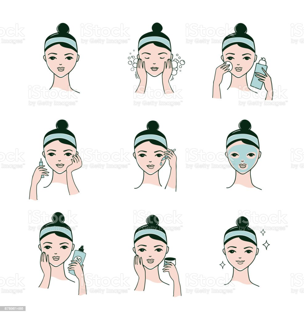 Skin care routine, woman face with a different facial procedures banner vector art illustration