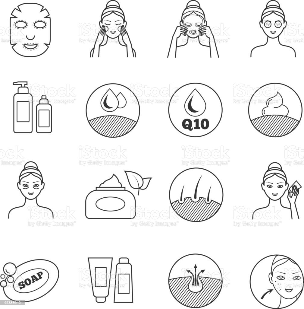 Skin care vector icons. Prevention of aging and eliminating of wrinkle pictograms vector art illustration