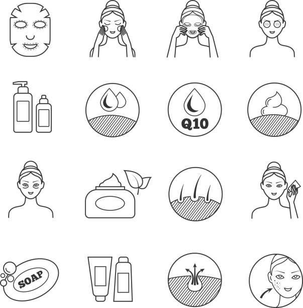 skin care vector icons. prevention of aging and eliminating of wrinkle pictograms - wrinkled backgrounds stock illustrations, clip art, cartoons, & icons