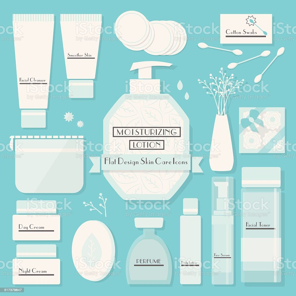 Skin cares products icons set on blue background