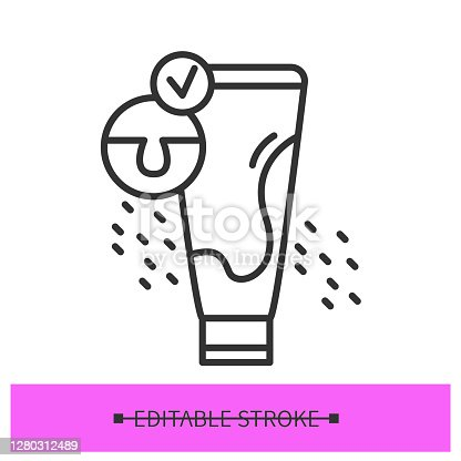 Skin cleanser icon. Exfoliation Korean gommage cosmetic tube. Concept linear pictogram for face polish, beauty care, unclogging tzone pores and acne treatment. Editable stroke vector illustration