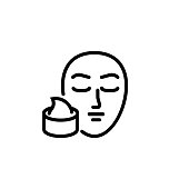 Skin cream line icon. Purity, mask, woman. Cosmetology concept. Vector illustration can be used for topics like skincare, spa, beauty treatment