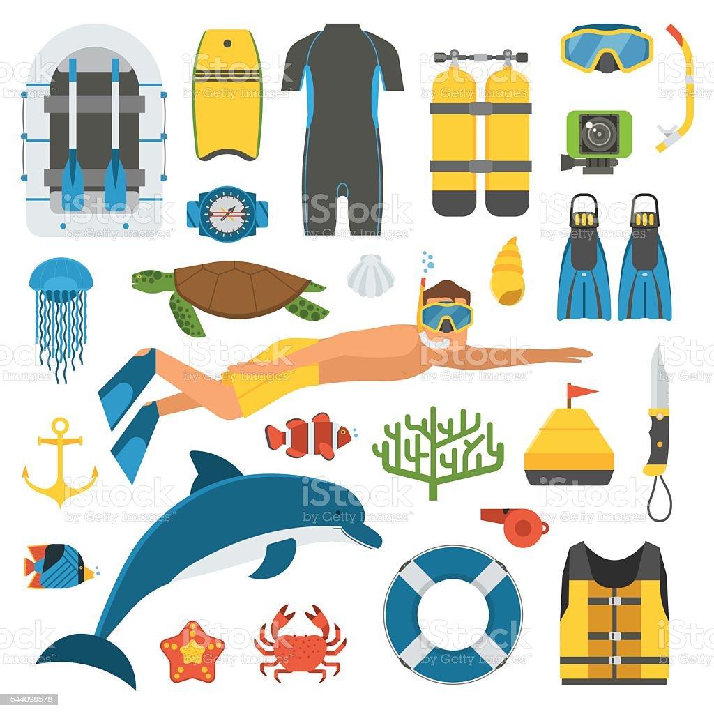 Skin Diving and Snorkeling Set vector art illustration