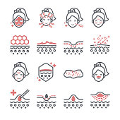 Skin and beauty icons for composing various media.