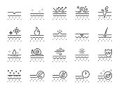 Skin line icon set. Included icons as collagen, beauty, skincare, moisturizing, natural and more.