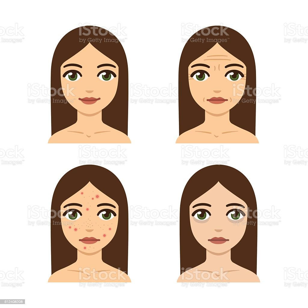 Skin problems illustration vector art illustration