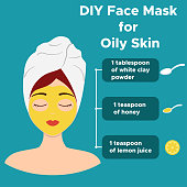 Homemade face mask from natural ingredients for oily skin. Vector illustration.