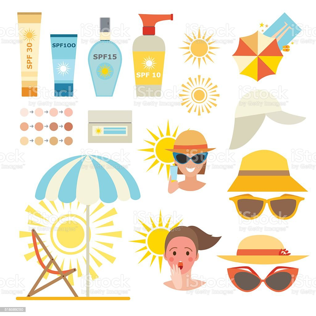 Skin sun protection cancer body prevention infographic vector icons vector art illustration