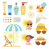Skin sun protection cancer body prevention infographic vector icons
