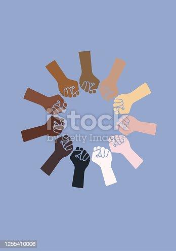 Skin tone hands. Multi ethnic world