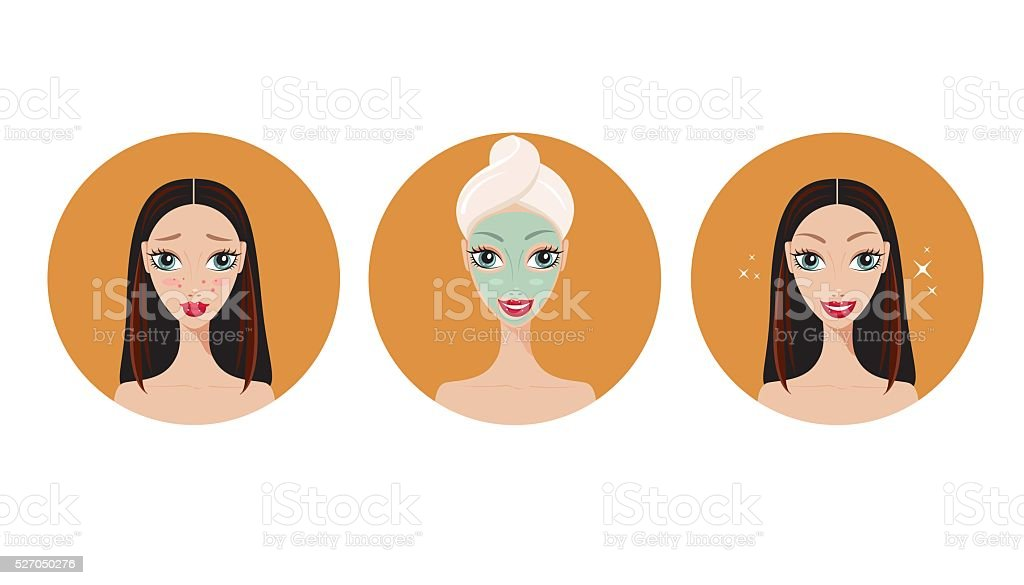 Skincare and acne treatment steps Girl applying mask Spa Salon vector art illustration