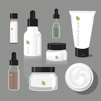 Skincare regimen beauty bottles