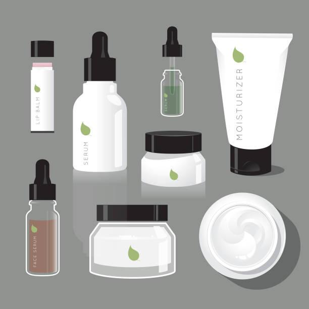 ilustrações, clipart, desenhos animados e ícones de garrafas de beleza regime skincare - hidratante