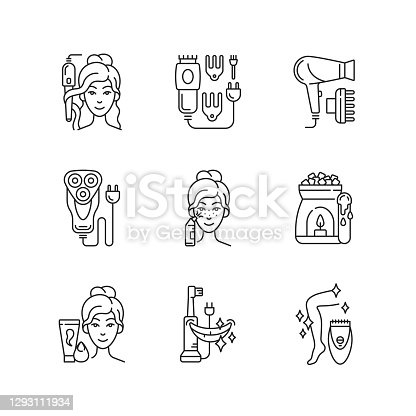 Skincare routine linear icons set. Hairstyling appliance. Electric hair clippers. Shaver. Makeup sponge. Customizable thin line contour symbols. Isolated vector outline illustrations. Editable stroke