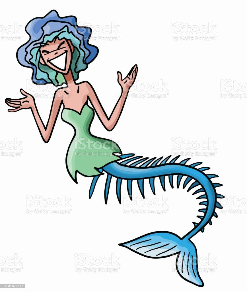 Skinny cartoon mermaid with short blue hair vector illustration vector art illustration
