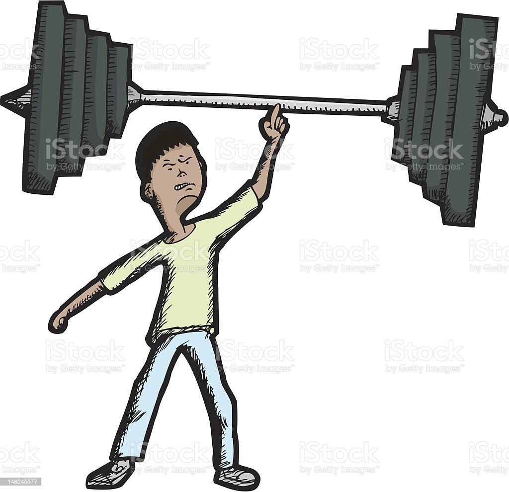 Skinny Weightlifter royalty-free stock vector art