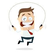 skipping businessman clipart