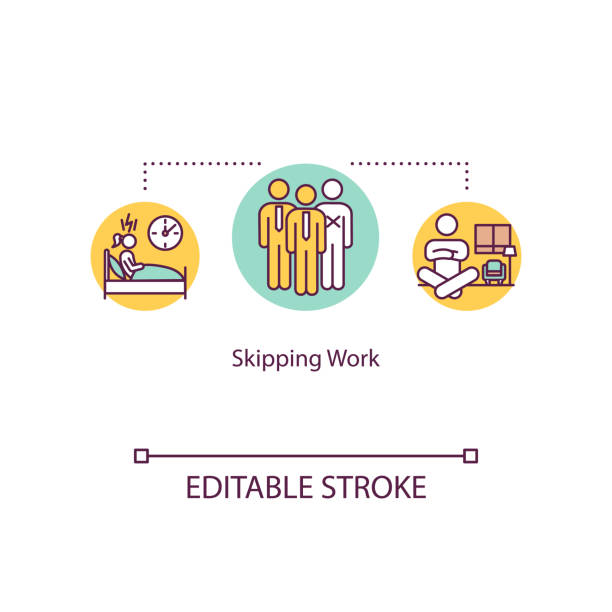 Skipping work concept icon. Burnout idea thin line illustration. Anxiety, depression. Absenteeism. Lack of motivation. Vector isolated outline RGB color drawing. Editable stroke Skipping work concept icon. Burnout idea thin line illustration. Anxiety, depression. Absenteeism. Lack of motivation. Vector isolated outline RGB color drawing. Editable stroke absentee stock illustrations