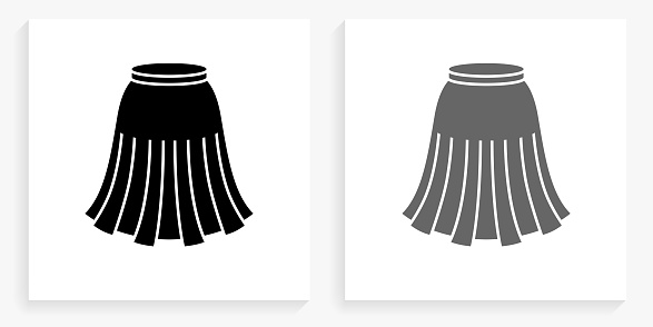 Skirt Black and White Square Icon