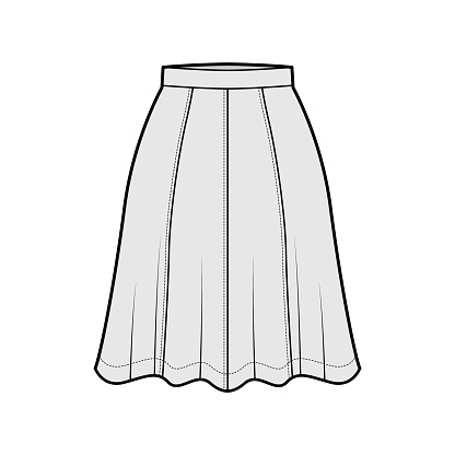 Skirt eight gore technical fashion illustration with below-the-knee silhouette, semi-circular fullness bottom template