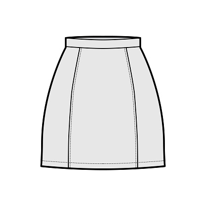 Skirt six gore mini pencil fullness technical fashion illustration with fitted silhouette, thin waistband. Flat bottom