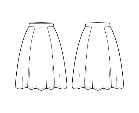 Skirt six gore technical fashion illustration with knee silhouette, semi-circular fullness, thin waistband. Flat bottom