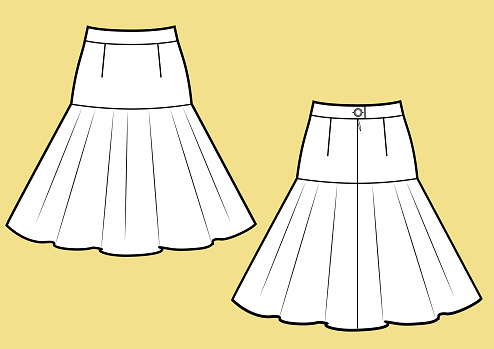 Skirt with volant frill technikal sketch.