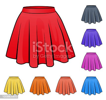 Illustration of skirts set in various colors