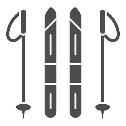 Skis and ski poles solid icon, World snow day concept, Ski and sticks sign on white background, Ski equipment icon in glyph style for mobile concept and web design. Vector graphics.