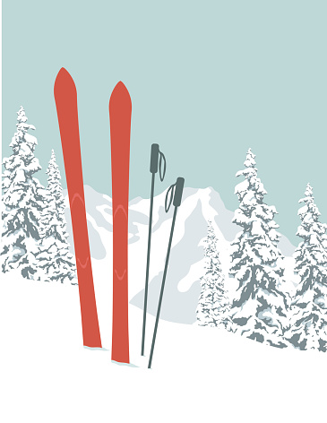 A pair of skis and poles stuck in the snow with a view of a snow-covered mountain and trees in the background. Copy space for your message.