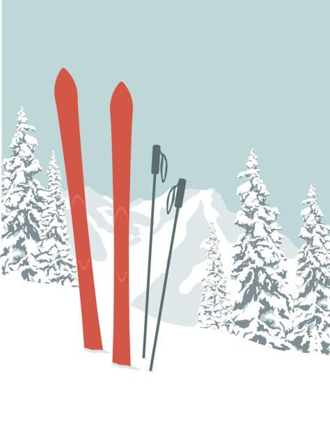 illustrations, cliparts, dessins animés et icônes de skis - ski