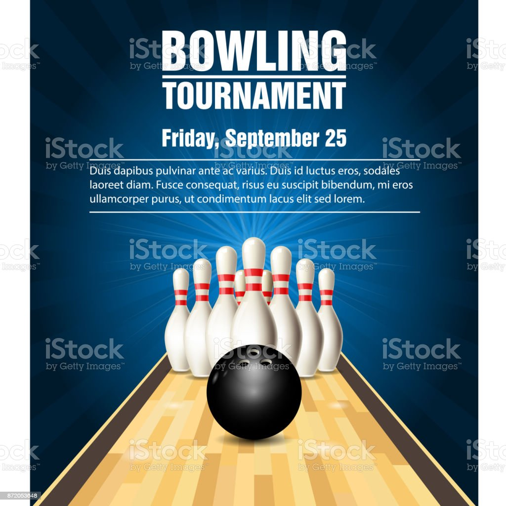 Skittles and bowling ball on bowling court vector art illustration