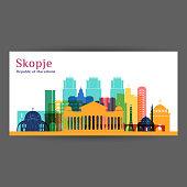 Skopje city architecture silhouette. Colorful skyline. City flat design. Vector business card.
