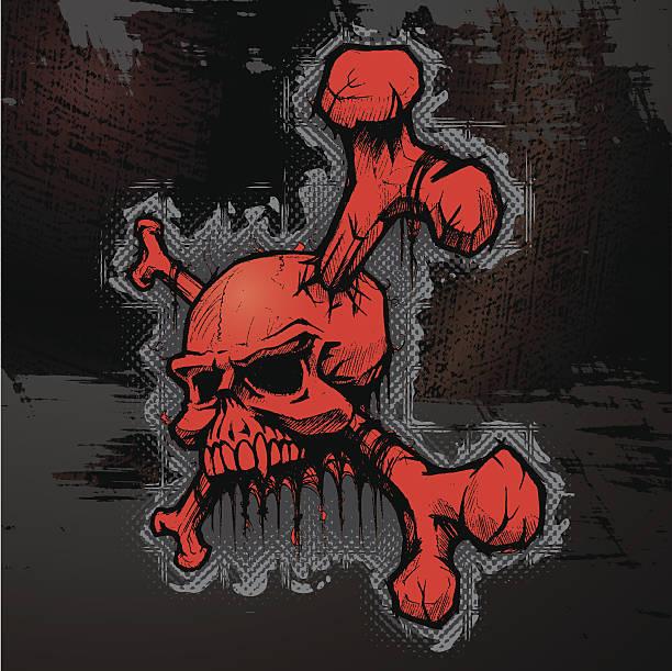 Skull & Crossbones on Grungy Metal Background vector art illustration