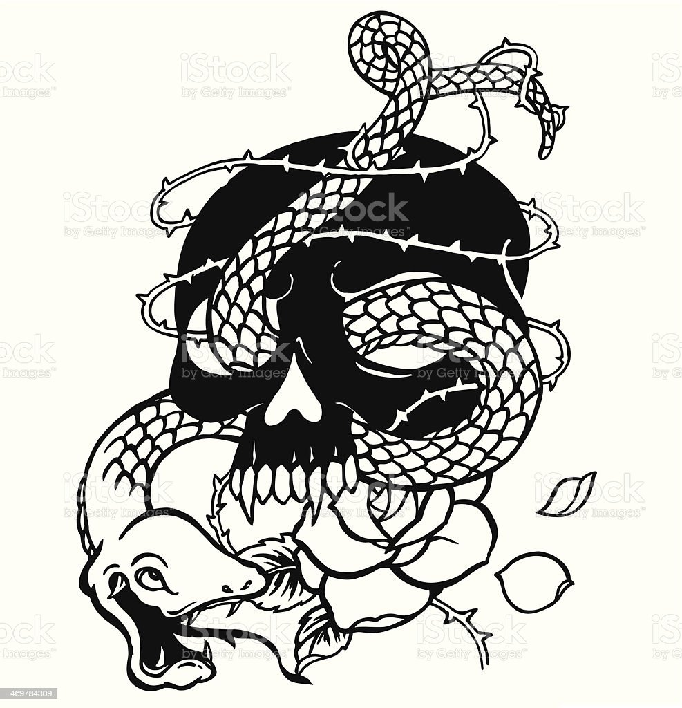 Skull And A Snake Stock Illustration - Download Image Now