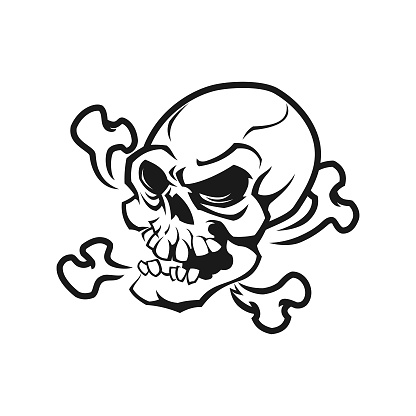 Skull and bones cut out vector illustration in sketch style
