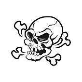Skull and crossed bones cut out vector illustration in sketch style