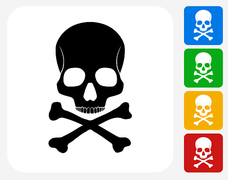 Skull and Bones Icon Flat Graphic Design