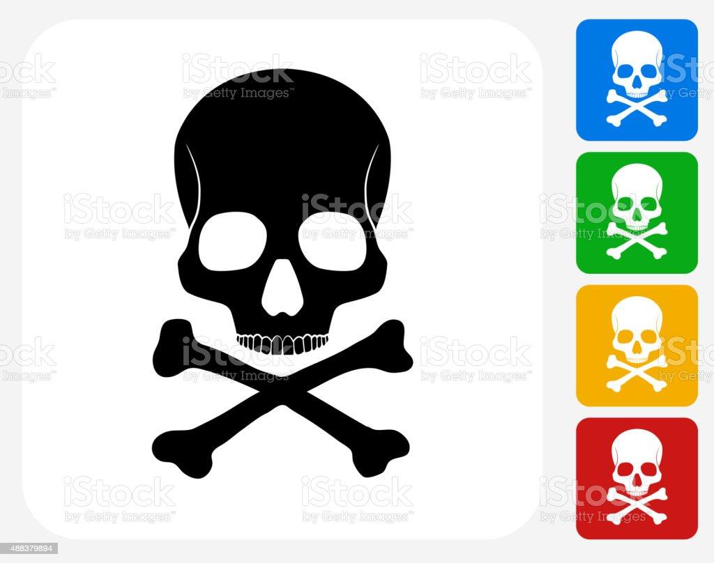 Skull and Bones Icon Flat Graphic Design vector art illustration