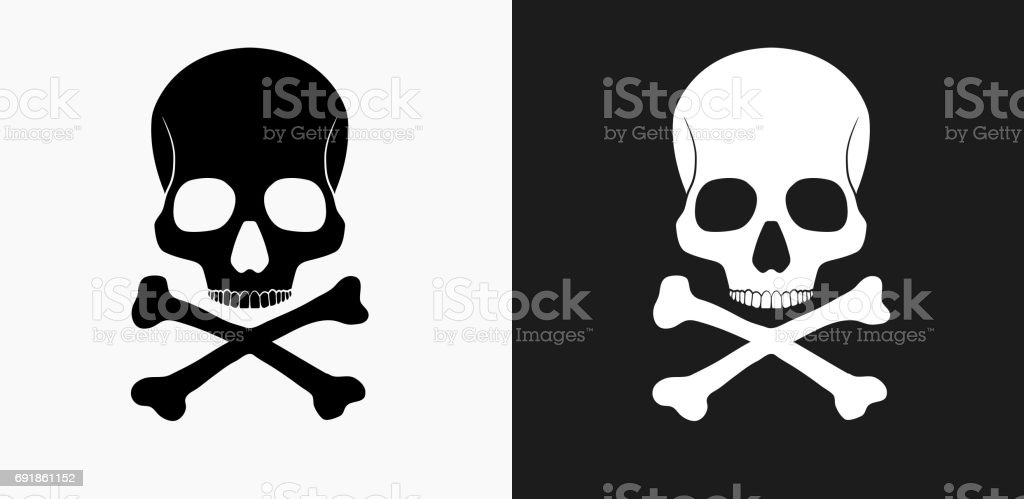 6eb4f54bae Skull and Bones Icon on Black and White Vector Backgrounds royalty-free  skull and bones