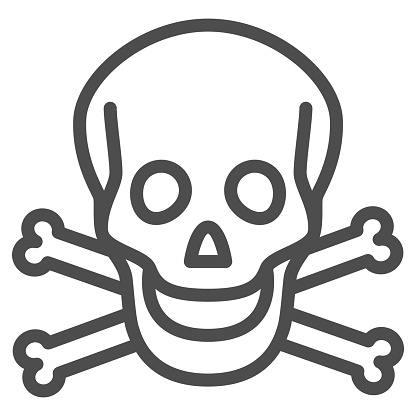 Skull and bones line icon, Halloween concept, danger warning sign on white background, Skull and crossbones icon in outline style for mobile concept and web design. Vector graphics.